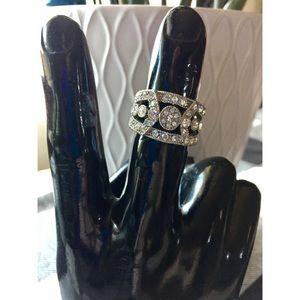 EXPRESS Ornate Sterling Silver Rhinestone Ring